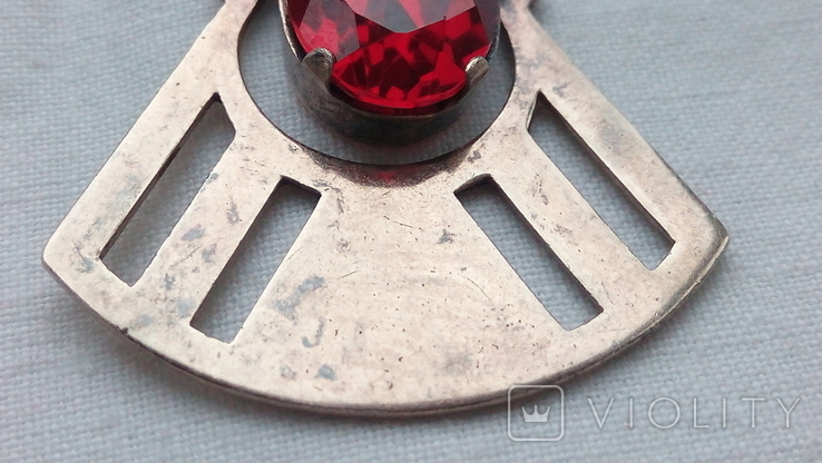 2601 кулон подвеска ссср серебро 875 позолота большой камень в центре, фото №5