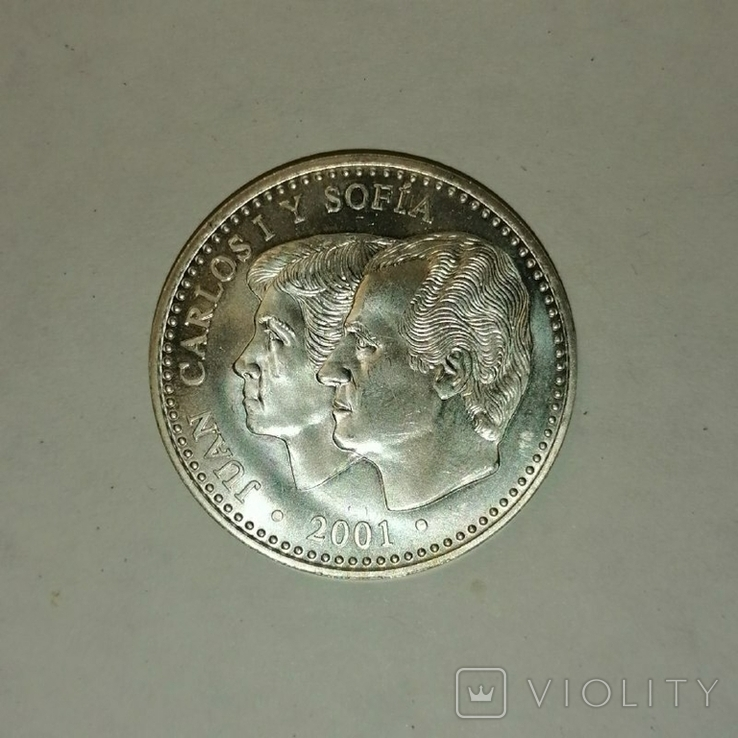 Серебряная монета, Испания,  132 ГОДОВЩИНА ПЕСЕТЫ, фото №2