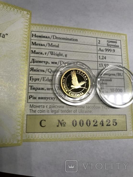 2 Гривны Аист Золото 999.9 пробы. / 2 гривні Лелека 2004 г  сертификат № 2425, фото №4