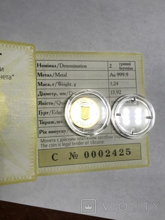2 Гривны Аист Золото 999.9 пробы. / 2 гривні Лелека 2004 г  сертификат № 2425, фото №6