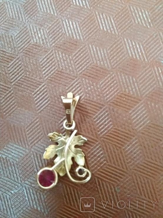 Кулон золото 583 пр.с камнями 1,87 гр.в коробке, фото №4