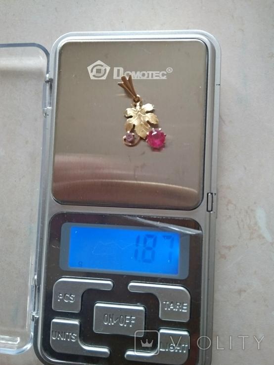 Кулон золото 583 пр.с камнями 1,87 гр.в коробке, фото №6