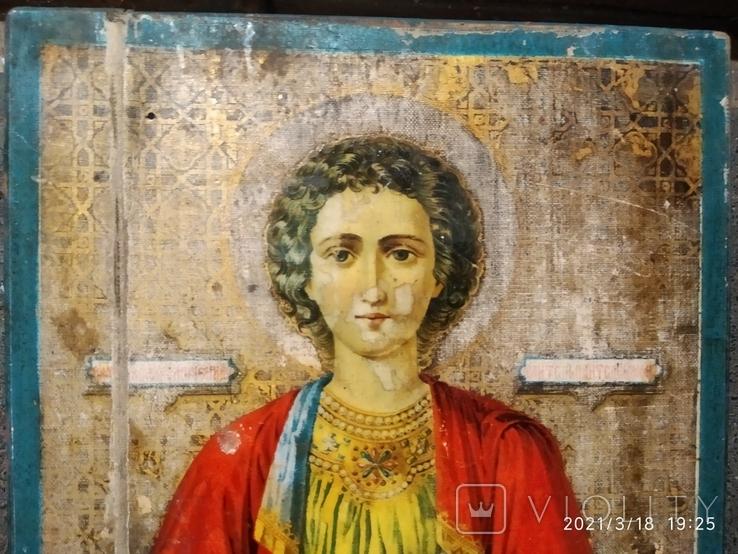 Икона Пантелеймона, левкас, остатки позолоты, печать монастыря, фото №3