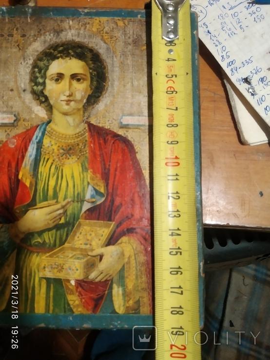 Икона Пантелеймона, левкас, остатки позолоты, печать монастыря, фото №9