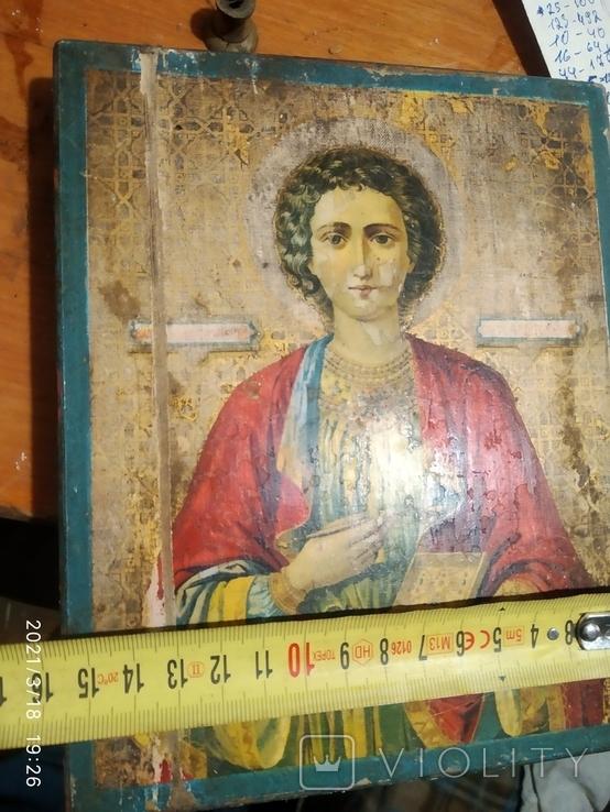Икона Пантелеймона, левкас, остатки позолоты, печать монастыря, фото №10