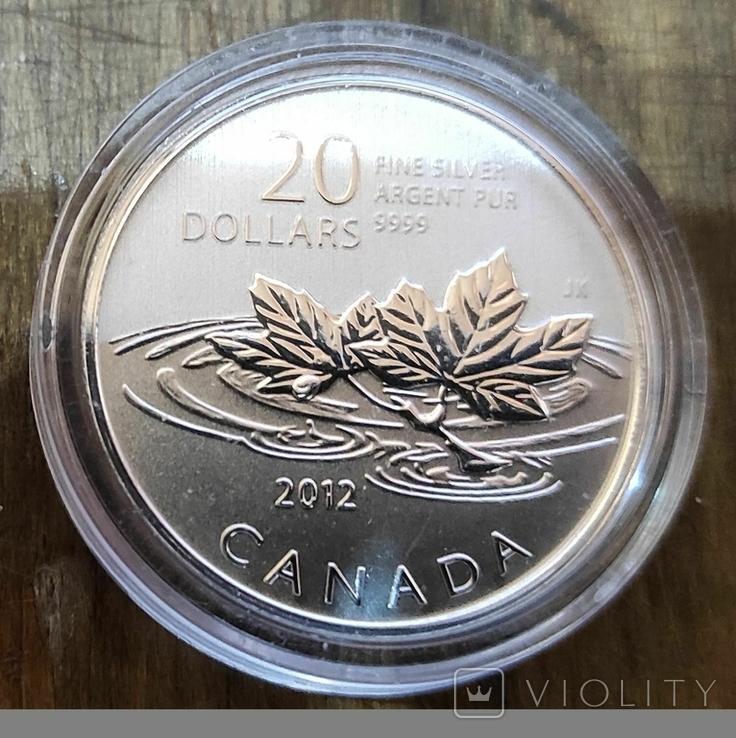 Канада 20 долларов 2012 г. Серебро. Фото через капсулу. Прощание с центом, фото №2