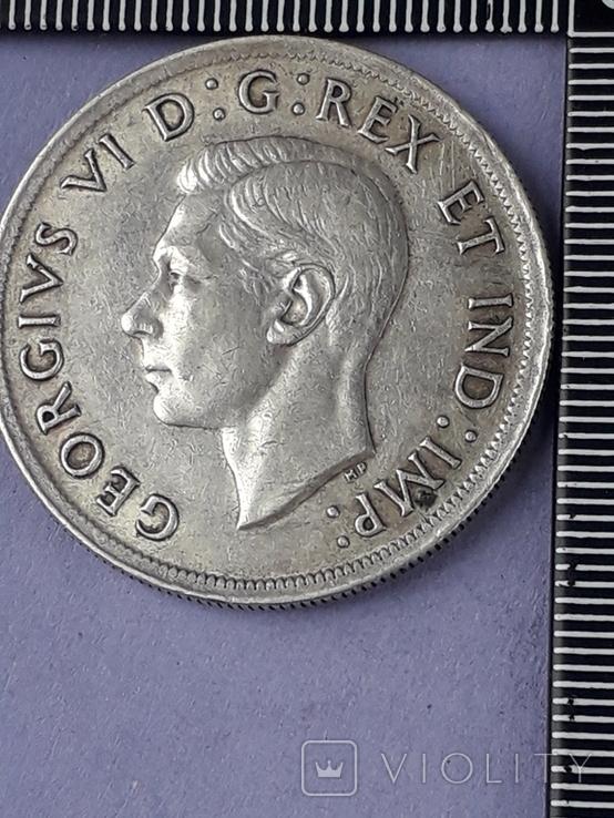 1 доллар, Канада, король Георг VI, 1939 г., серебро, 0.800, 23.33 гр., юбилейная, фото №2