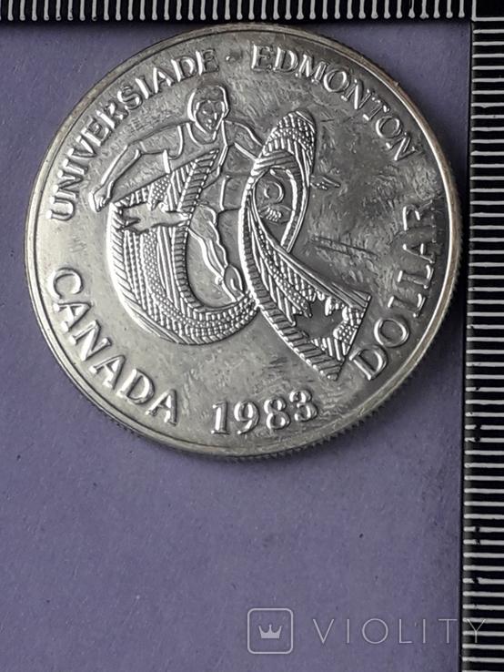 1 доллар, Канада, 1983 год, XII Универсиада в Эдмонтоне, серебро, фото №2
