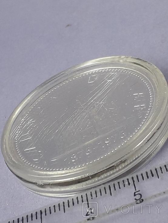 1 доллар, Канада, 1976 год, 100 лет парламентской библиотеке, серебро, фото №4
