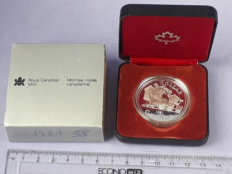 1 доллар, Канада, 1981 год, 100 лет Трансконтинентальной железной дороге, серебро, фото №2