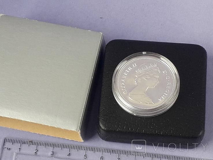 1 доллар, Канада, 1981 год, 100 лет Трансконтинентальной железной дороге, серебро, фото №4