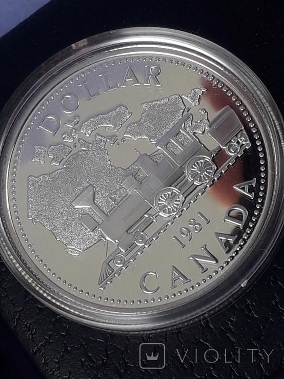 1 доллар, Канада, 1981 год, 100 лет Трансконтинентальной железной дороге, серебро, фото №7