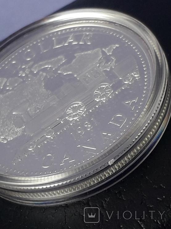 1 доллар, Канада, 1981 год, 100 лет Трансконтинентальной железной дороге, серебро, фото №8