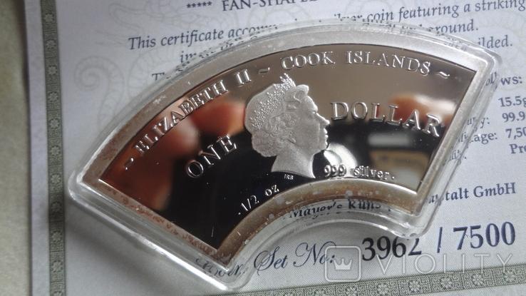 1 доллар 2013 о-ва Кука год Змеи серебро 999 позолота Сертификат ,коробка тираж 7500, фото №5
