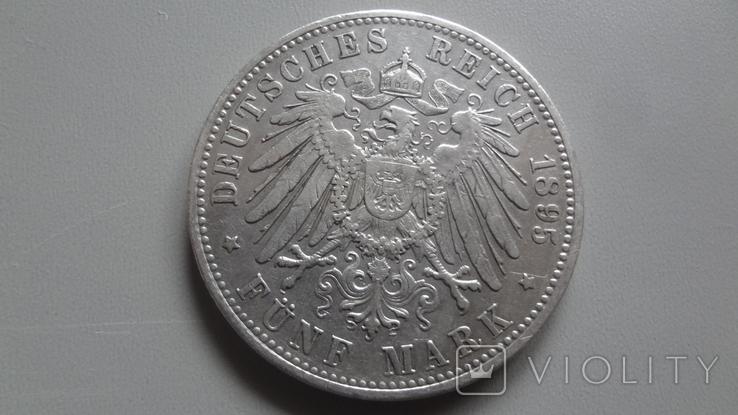 5 марок 1895 Бавария Редкая тираж 140639 серебро (Ж.4.5), фото №4