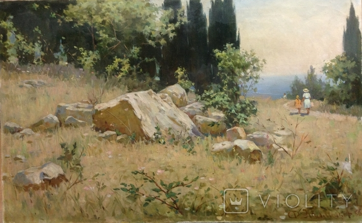 Старая картина Крымский пейзаж-Июль 1966 г. Калмыков Ф. Б.(1932-1967), фото №4
