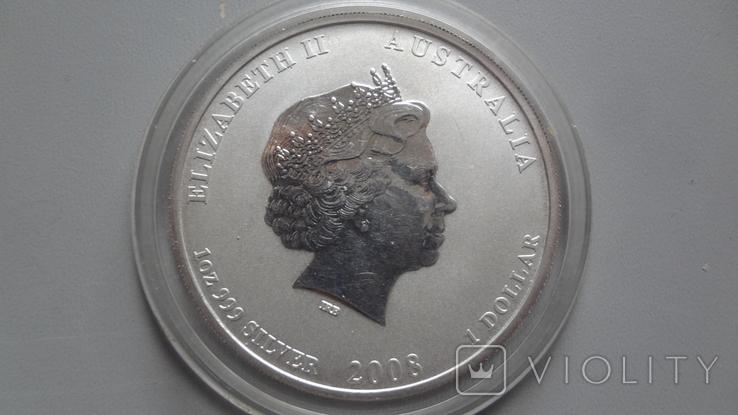 1 доллар 2008 Австралия год Мыши серебро унция 999, фото №6