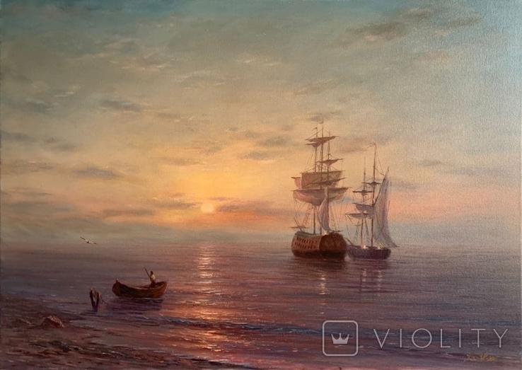 """Картина маслом на холсте """"Янтарный закат"""""""