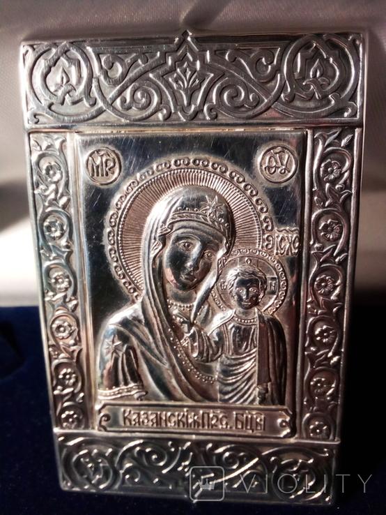 Икона. Богородица. Казанская Б. М. Серебро 925 прб., фото №2