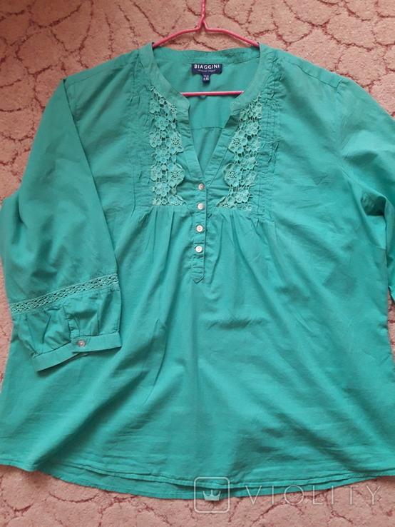 Женская бирюзовая рубаха. Кружево, крючёк. Charles Vogelr. Индия, фото №2
