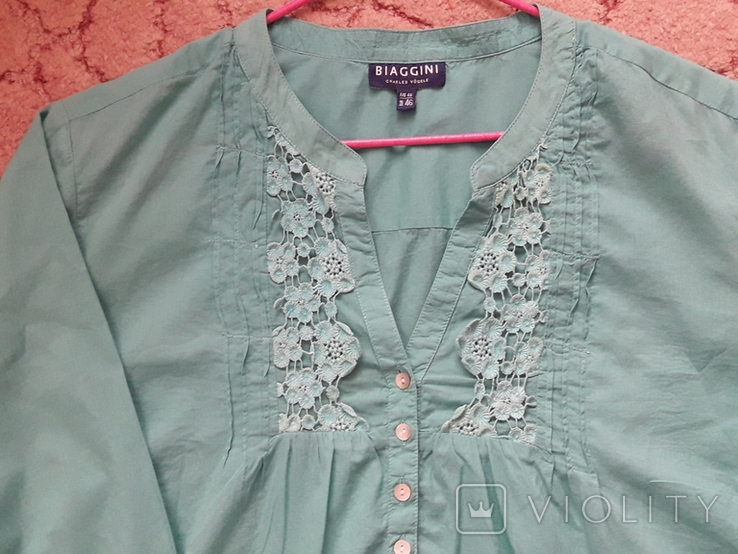 Женская бирюзовая рубаха. Кружево, крючёк. Charles Vogelr. Индия, фото №3