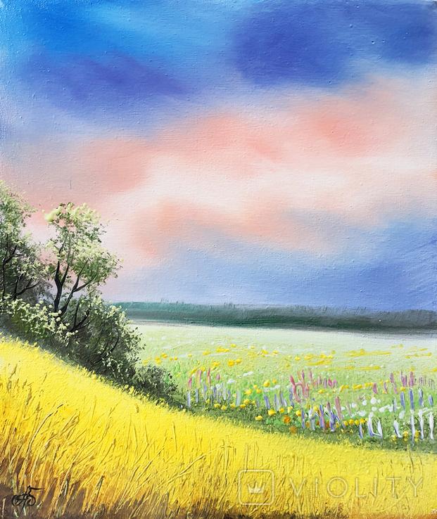 Картина, Рідні небо та земля, 25х30 см. Живопис на полотні, фото №2