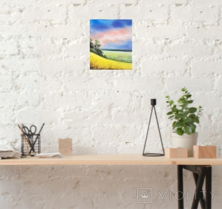 Картина, Рідні небо та земля, 25х30 см. Живопис на полотні, фото №6