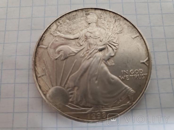 Унция,серебро,США(31,1 г.),1998 год., фото №2