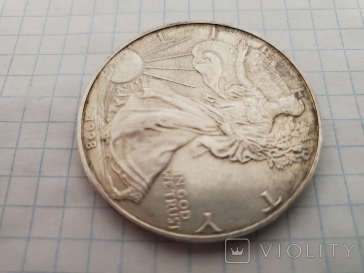 Унция,серебро,США(31,1 г.),1998 год., фото №4