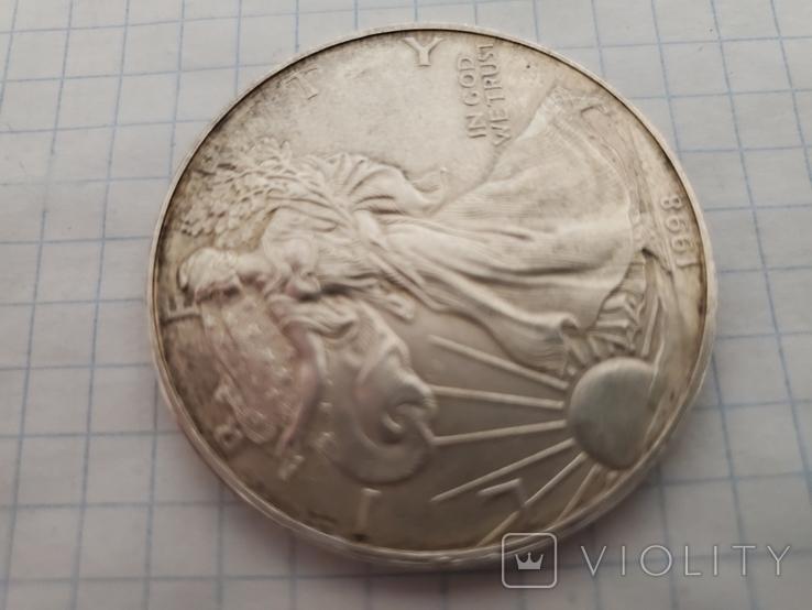 Унция,серебро,США(31,1 г.),1998 год., фото №6