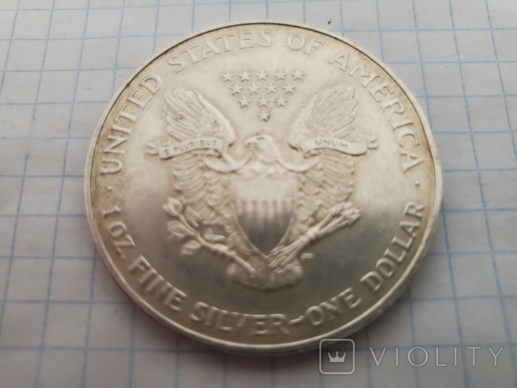 Унция,серебро,США(31,1 г.),1998 год., фото №8