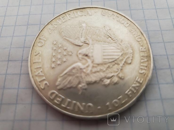 Унция,серебро,США(31,1 г.),1998 год., фото №11