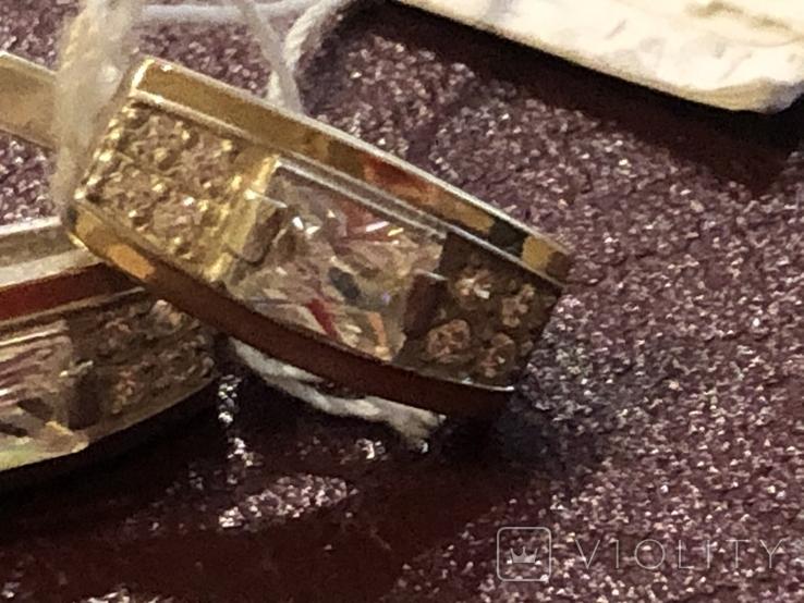 Серьги . Серебро и золото. Новые, фото №4