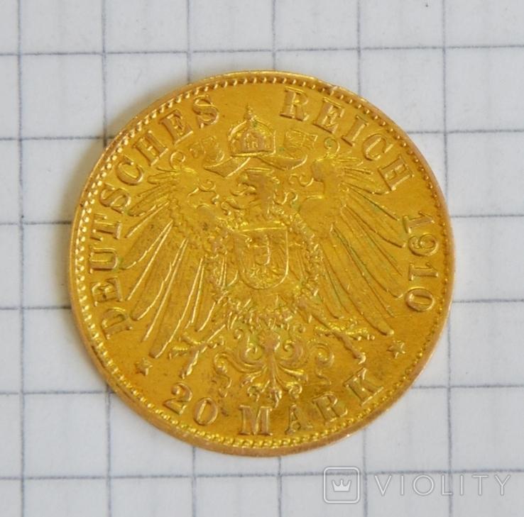 20 марок 1910, золото, фото №3
