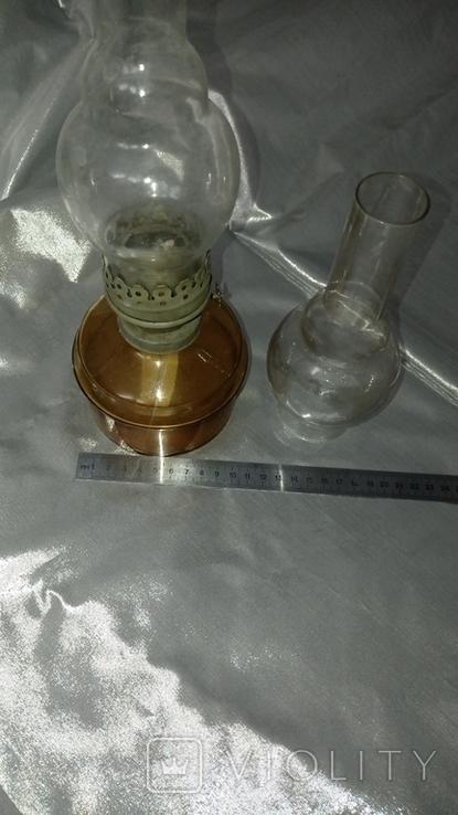 Керосиновая лампа +стеклянная колба ,жёлтое стекло СССР, фото №7