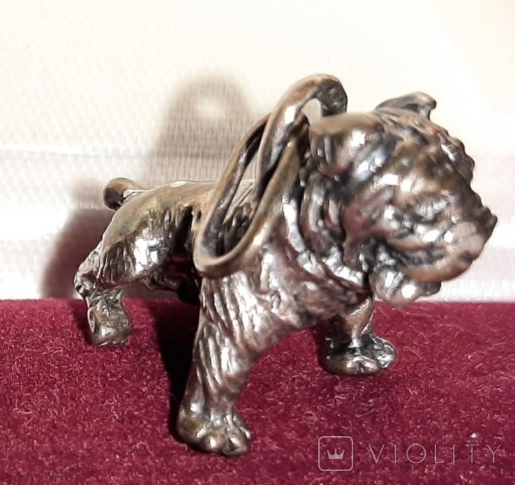 Серебрянная подвеска Собачка-мопс,925проба, фото №2