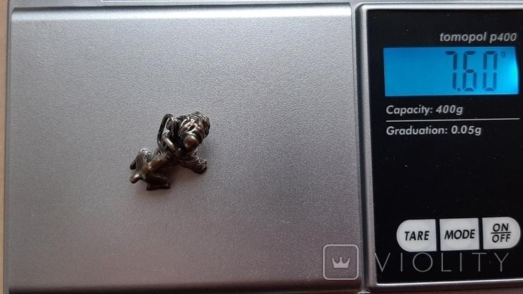 Серебрянная подвеска Собачка-мопс,925проба, фото №9