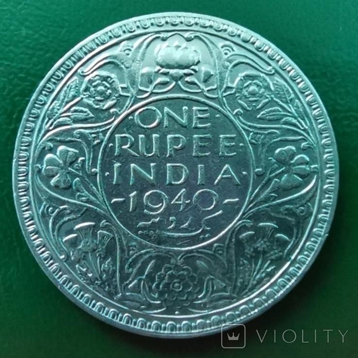 Рупия 1940 г.серебро, фото №3