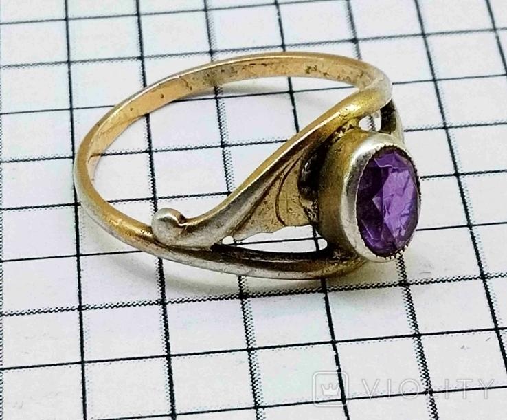 Кольцо с аметистом, серебро 925 звезда, позолота. СССР., фото №2