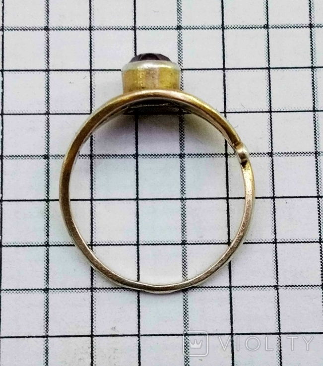 Кольцо с аметистом, серебро 925 звезда, позолота. СССР., фото №5