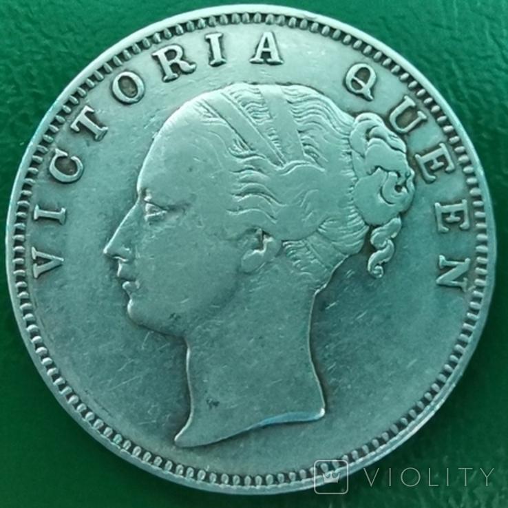 Рупия 1840 г. С точкой, серебро, фото №2