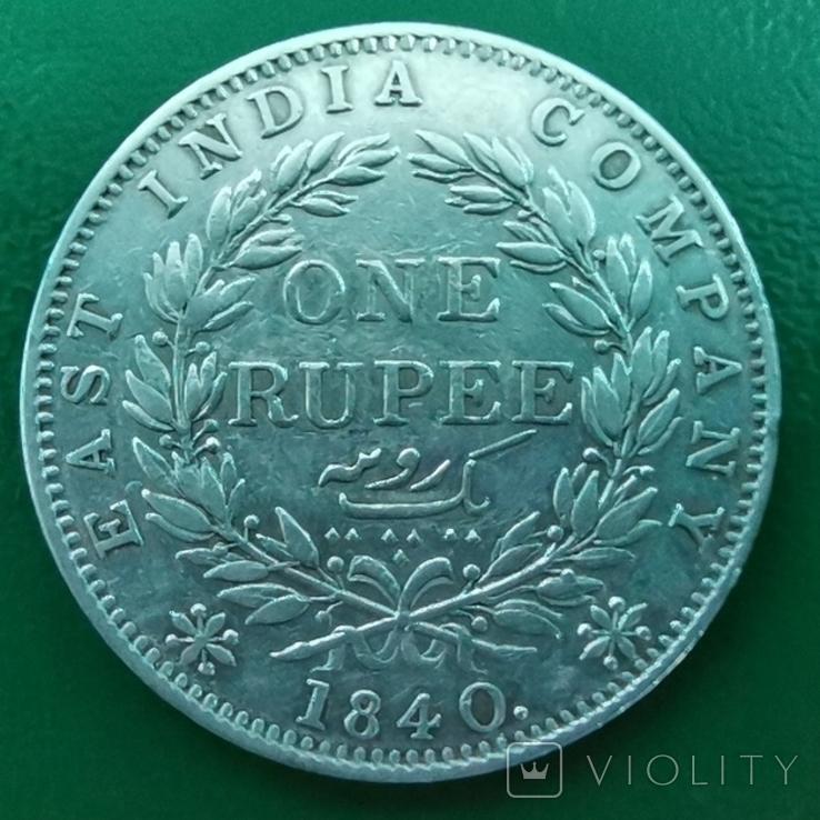 Рупия 1840 г. С точкой, серебро, фото №3