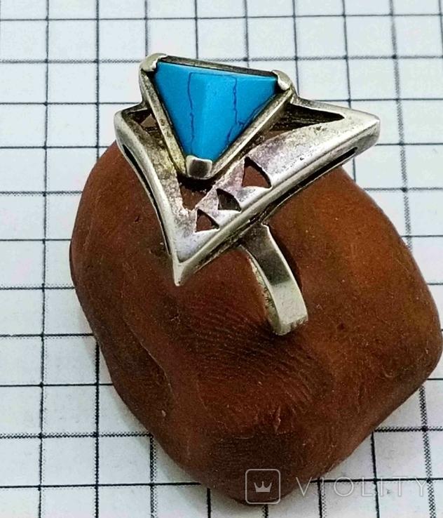 Перстень Серебро 875, бирюза. 4.70 грамм, фото №3