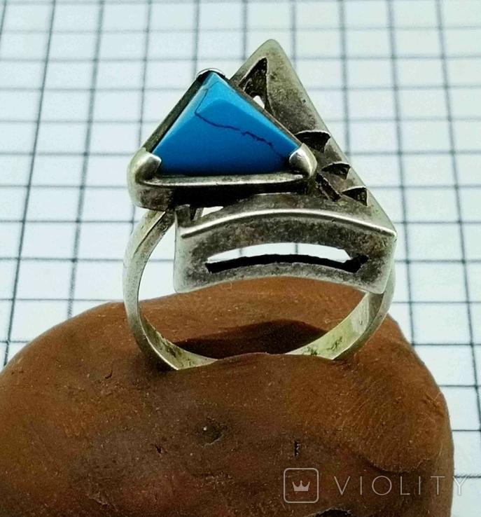 Перстень Серебро 875, бирюза. 4.70 грамм, фото №5