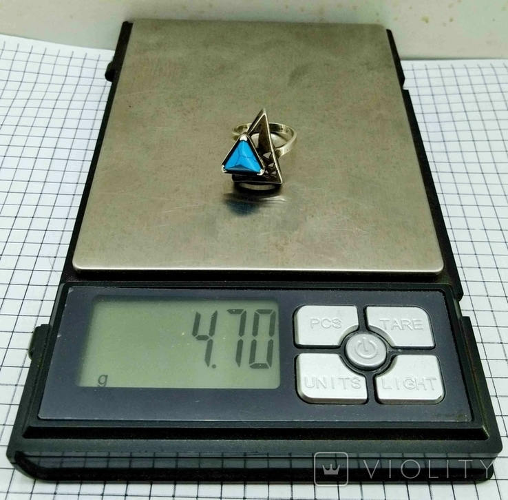 Перстень Серебро 875, бирюза. 4.70 грамм, фото №7