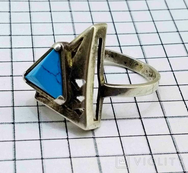 Перстень Серебро 875, бирюза. 4.70 грамм, фото №8