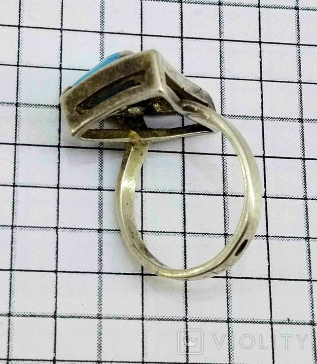 Перстень Серебро 875, бирюза. 4.70 грамм, фото №10