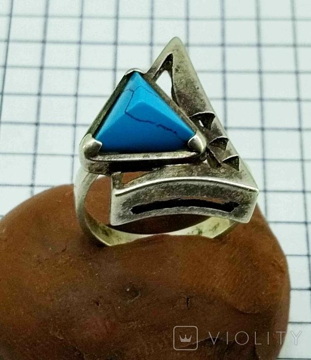 Перстень Серебро 875, бирюза. 4.70 грамм, фото №12
