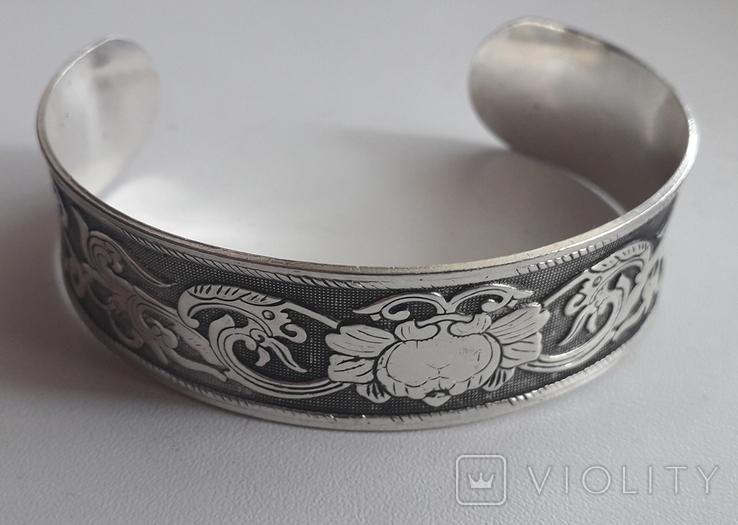 Браслет/обруч с орнаментом-оберегом, медь/серебрение., фото №9