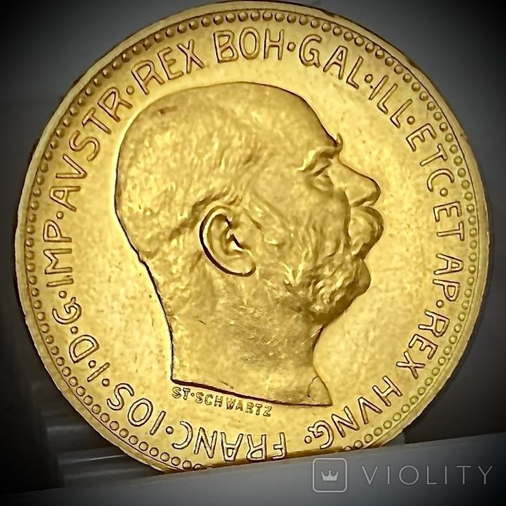 20 крон (рестрайк) 1915. Австро-Венгрия (золото 900, вес 6,78 г), фото №6